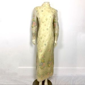 Vintage pale yellow floral velvet overlay gown 60s